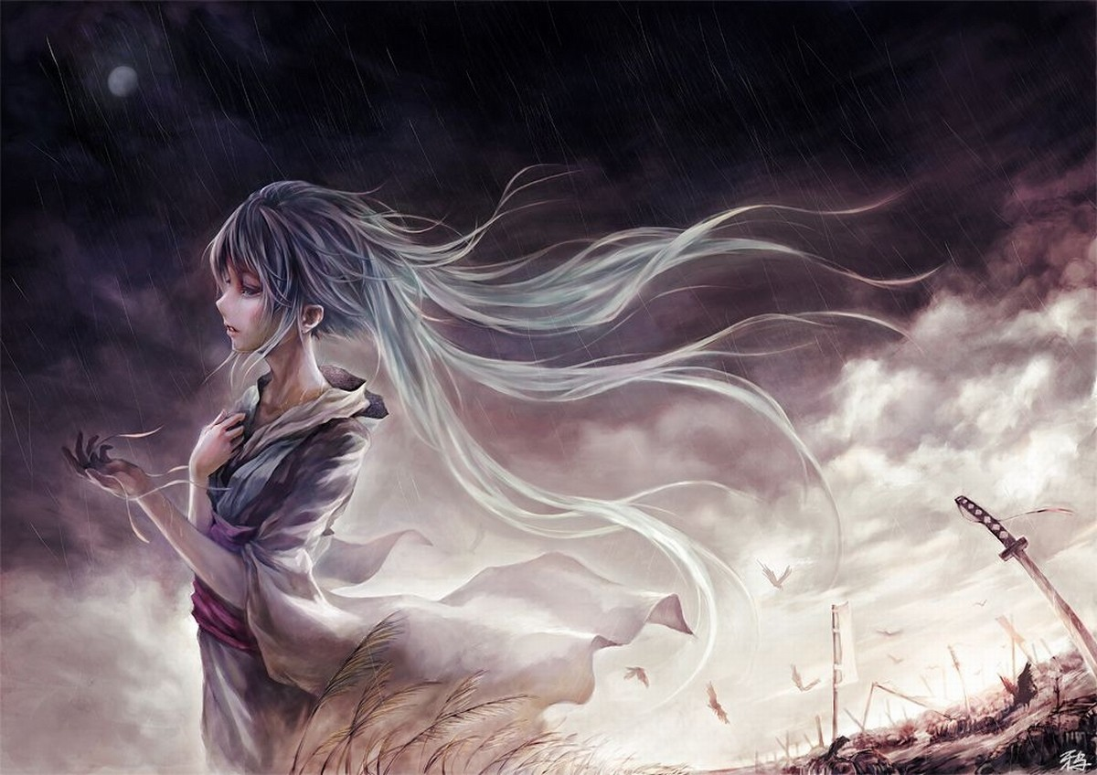 sunset clouds vocaloid rain HD Wallpaper