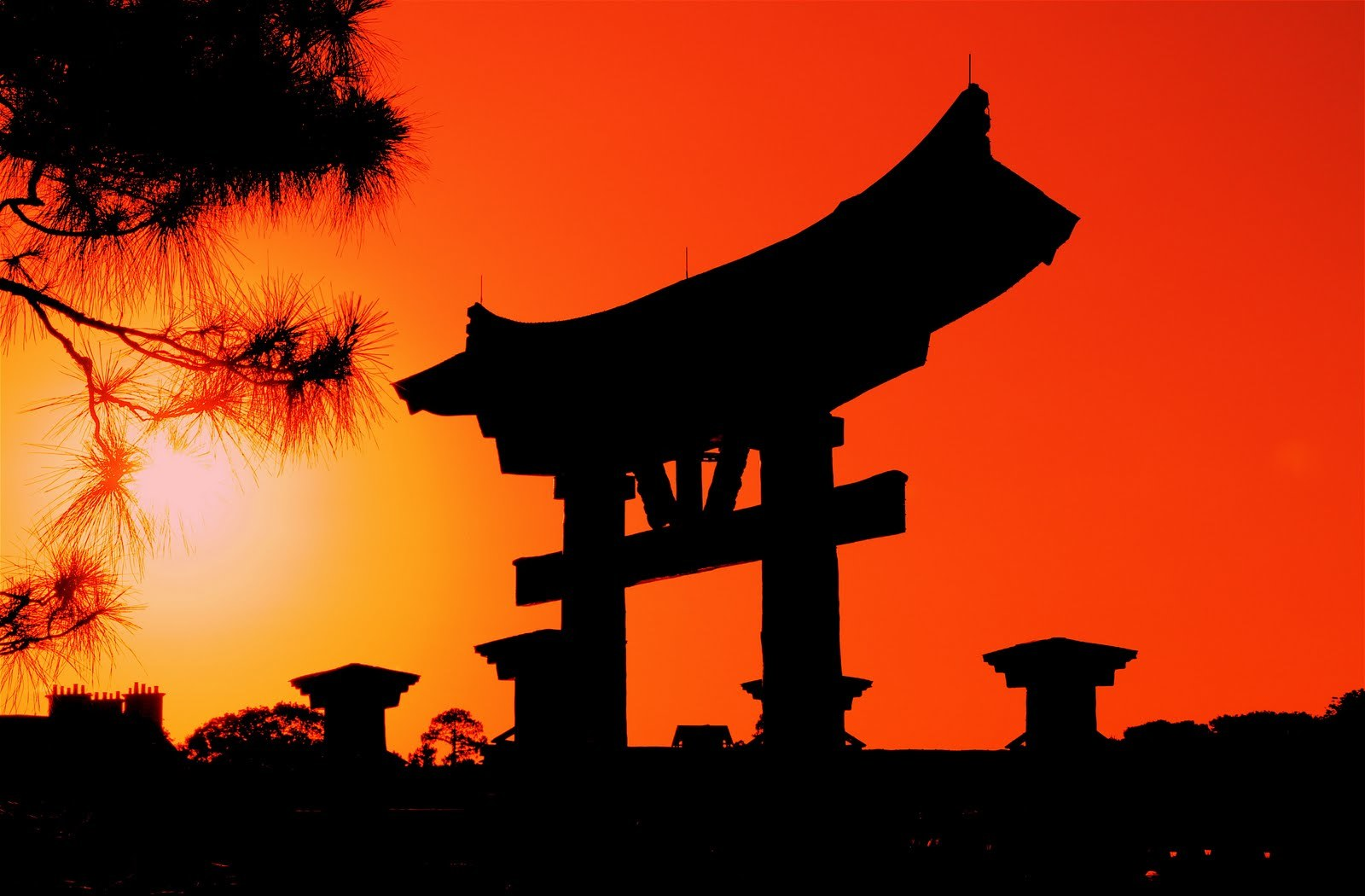 sunset Japan silhouettes torii HD Wallpaper