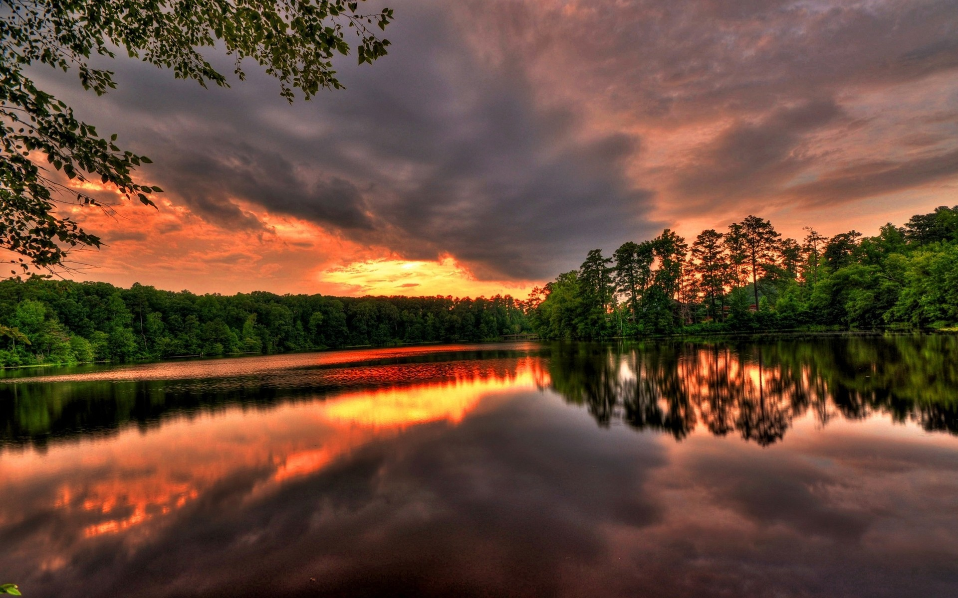 sunset Landscapes nature lakes HD Wallpaper