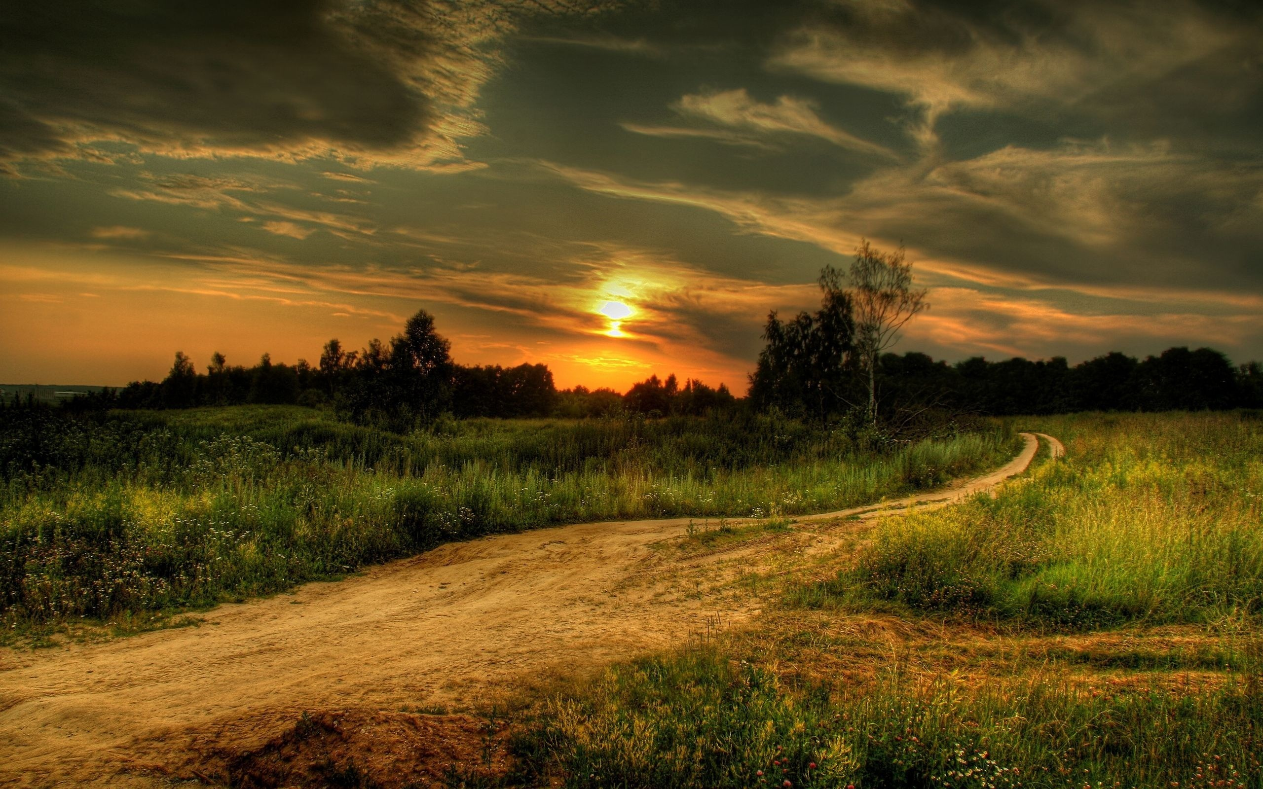 sunset Landscapes roads HD Wallpaper