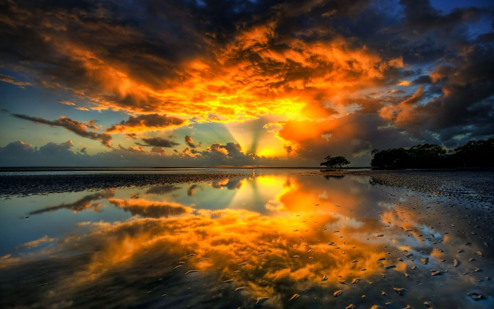 sunset nature shore shockwave HD Wallpaper
