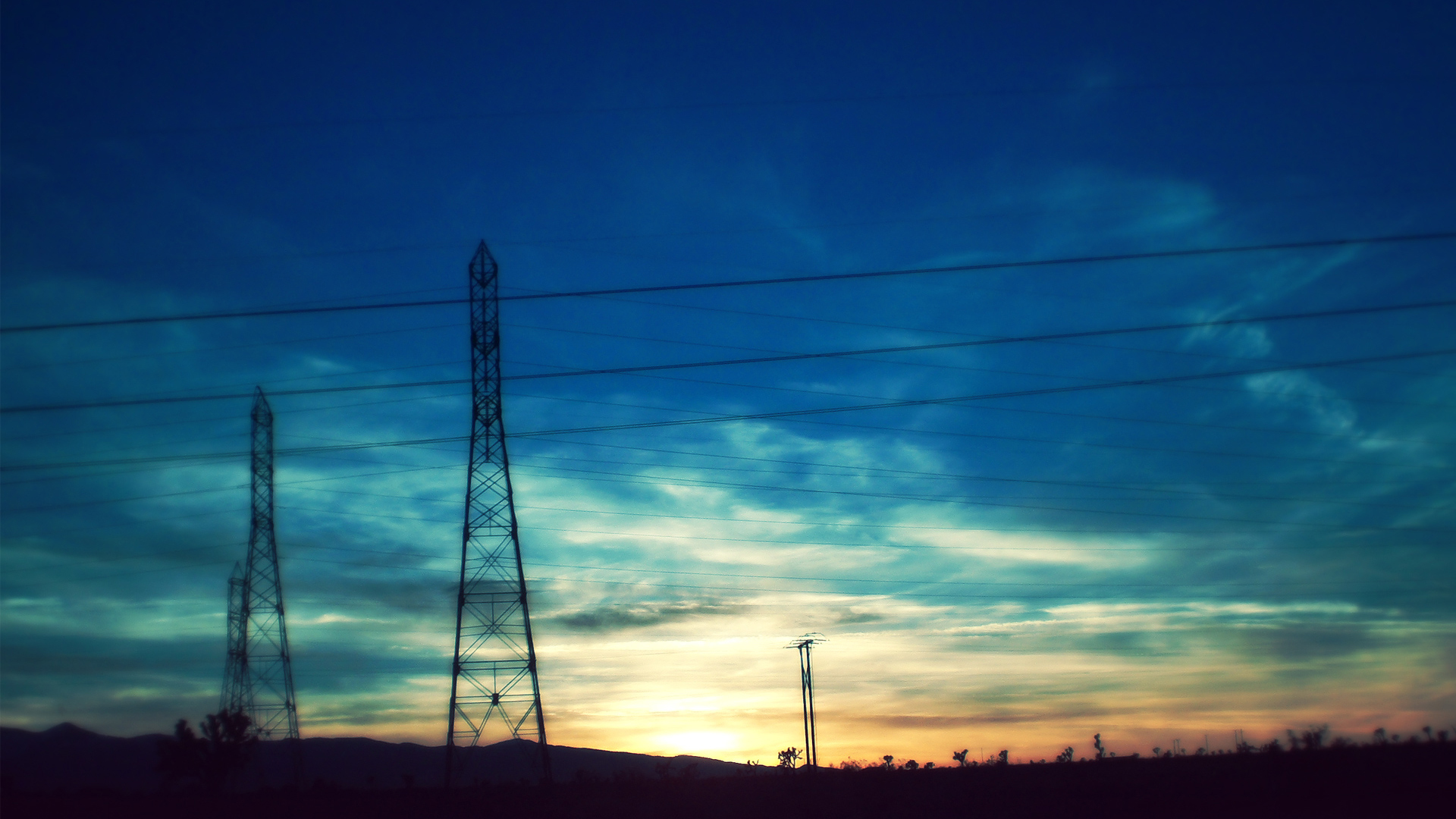 sunset power lines countryside HD Wallpaper