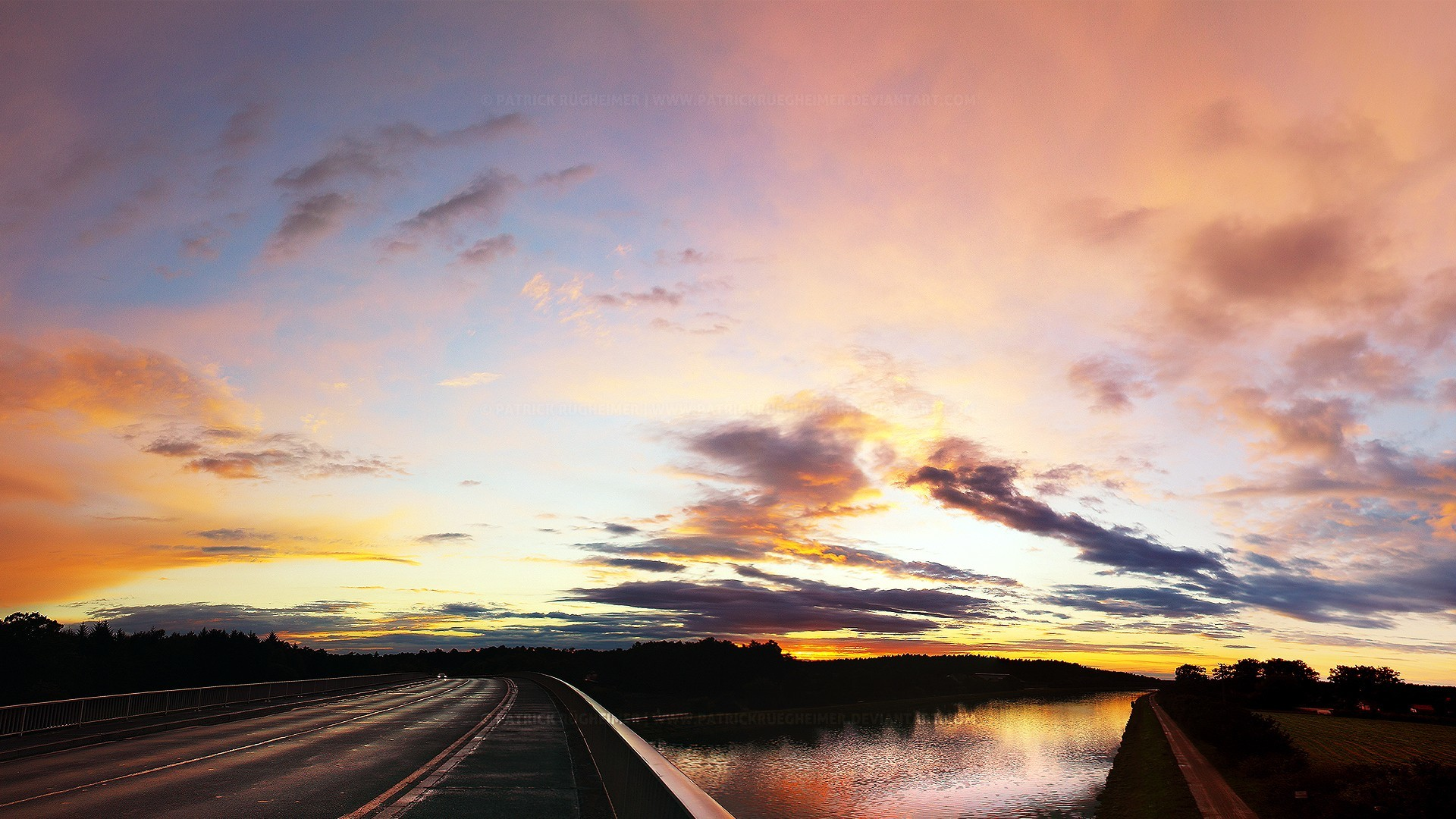 sunset roads rivers HD Wallpaper