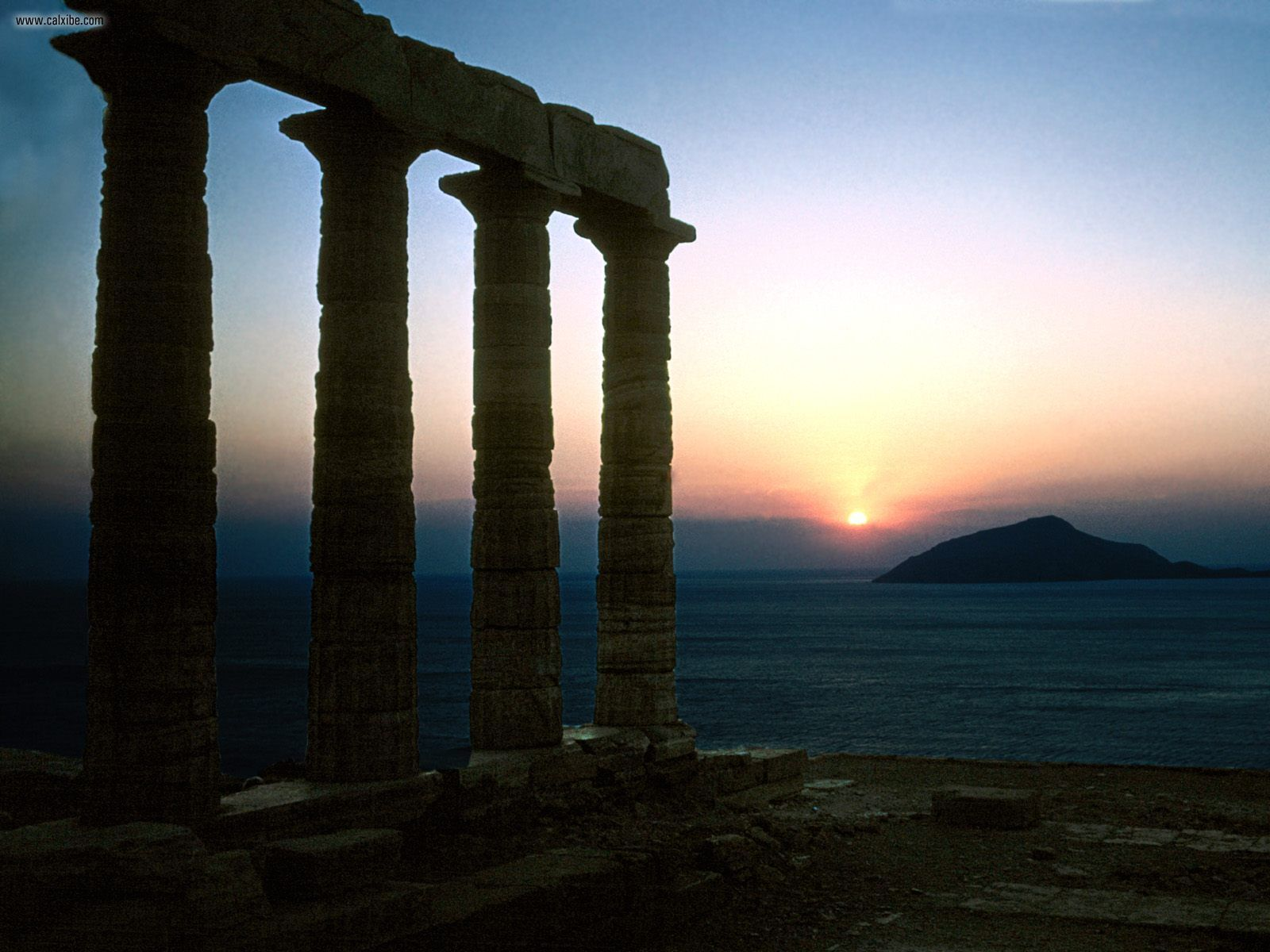 sunset ruins hills Greece HD Wallpaper