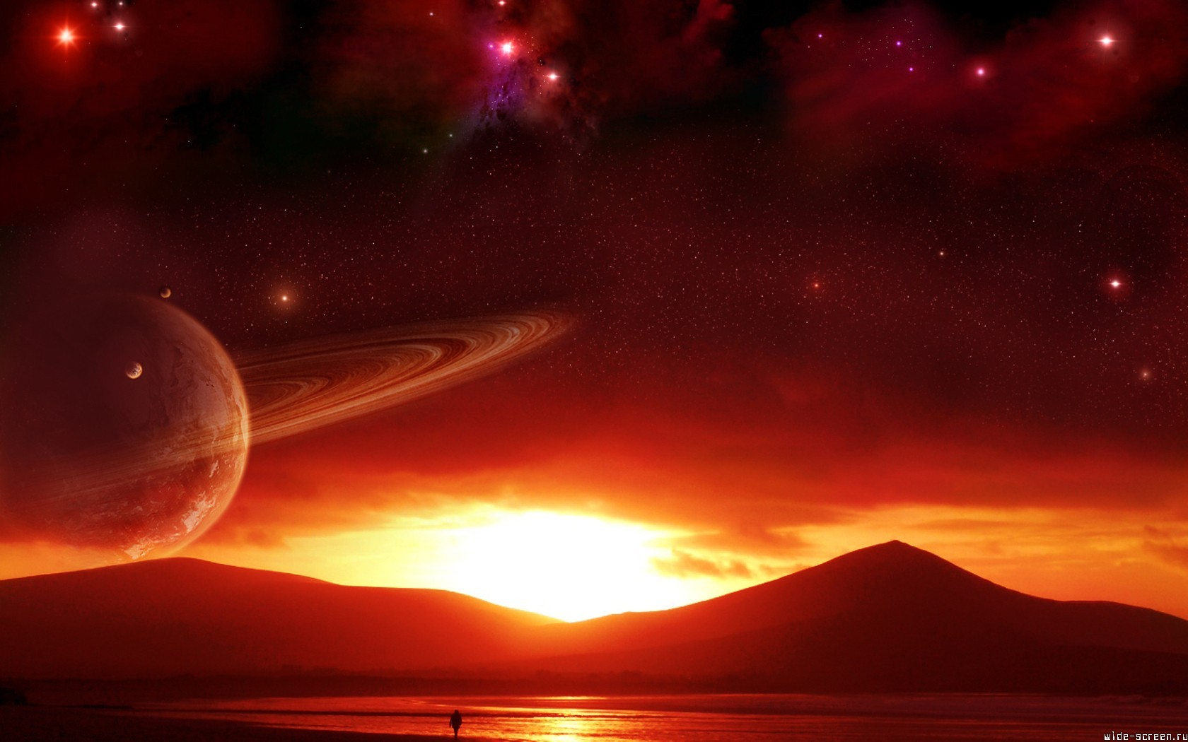 sunset Stars Mountains planets artwork HD Wallpaper