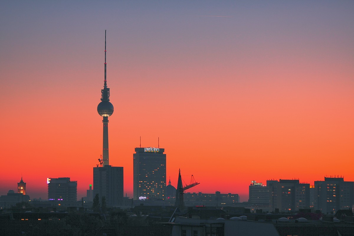 sunset tower cityscapes HD Wallpaper