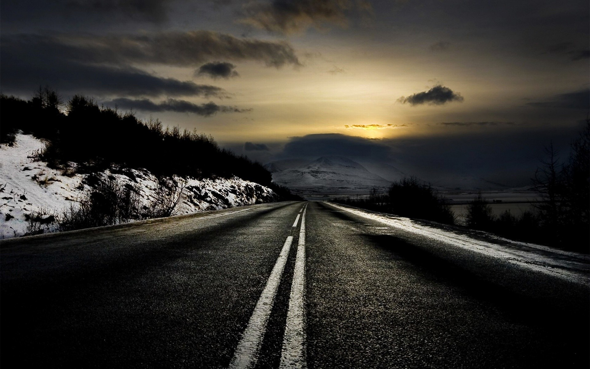 sunset winter roads