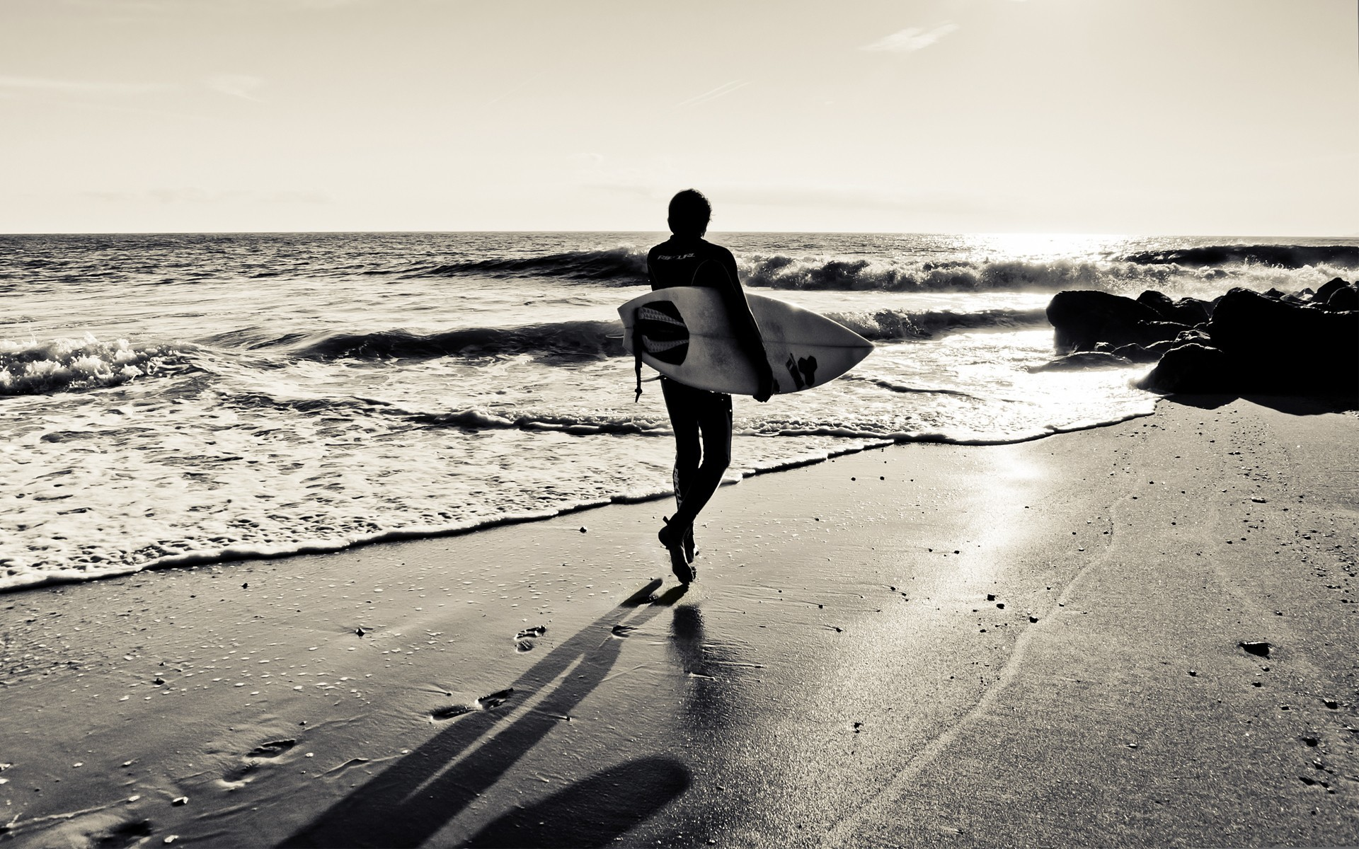 surfing monochrome surfers Beaches HD Wallpaper