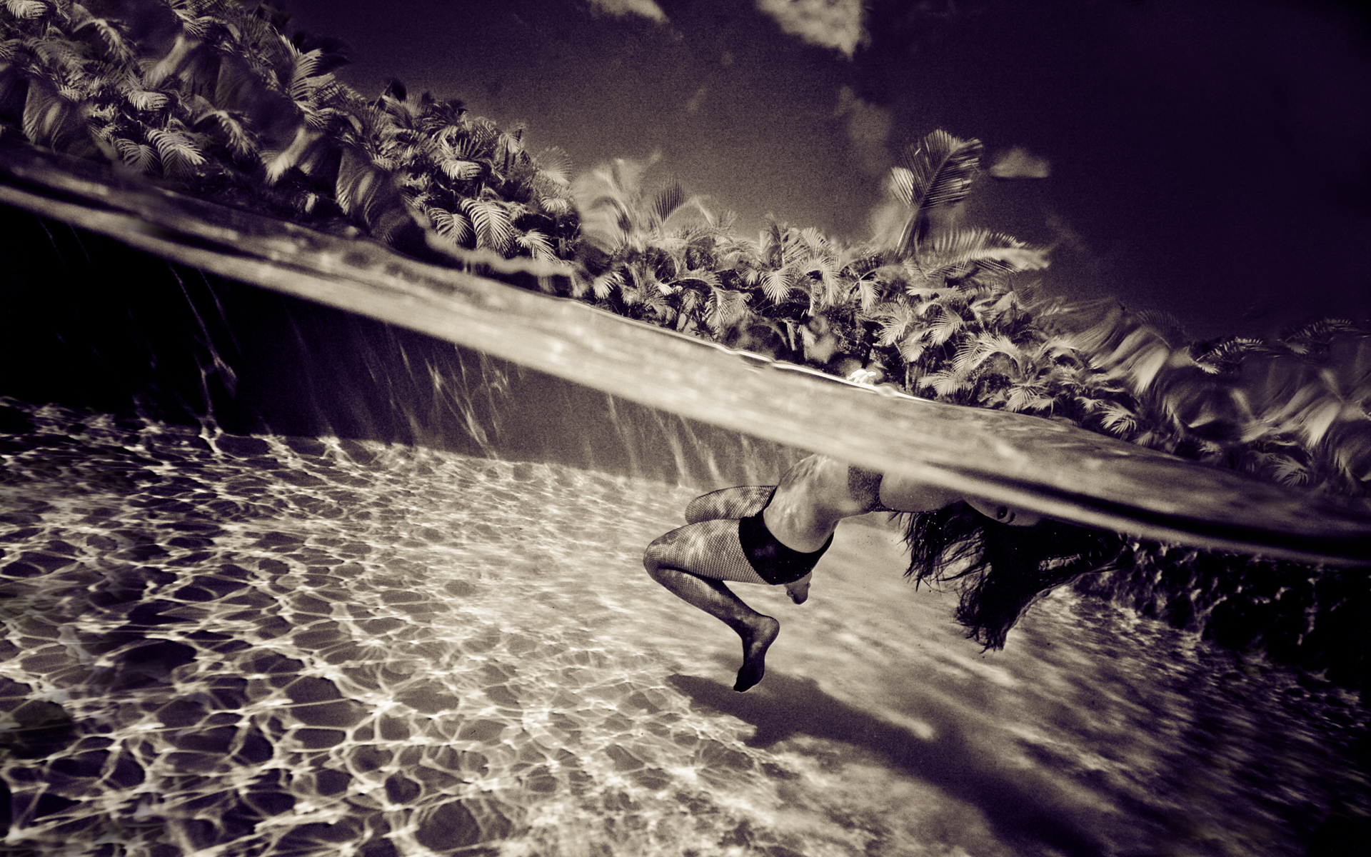 swimming underwater split-view HD Wallpaper