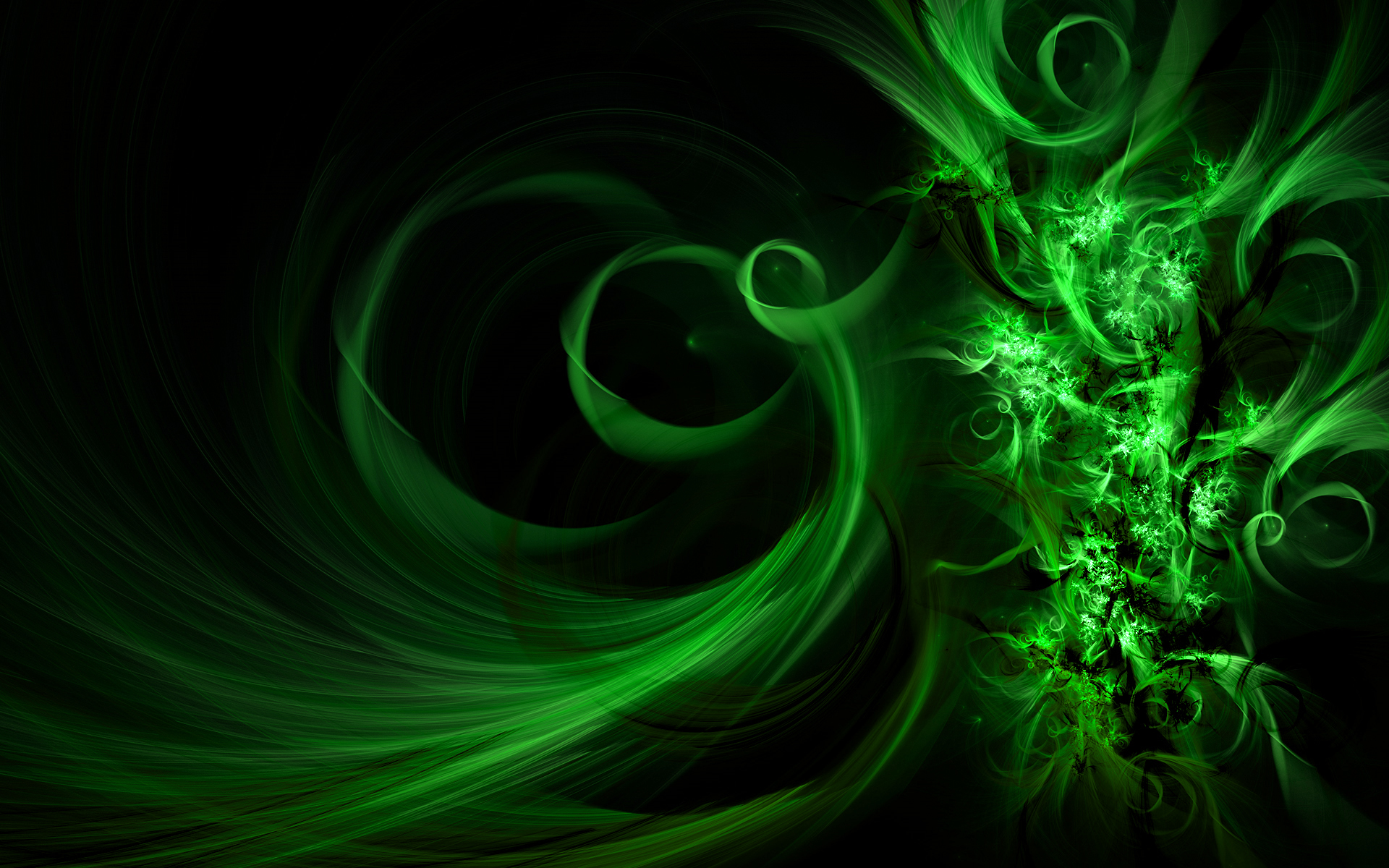 swirly greens widescreen abstract HD Wallpaper