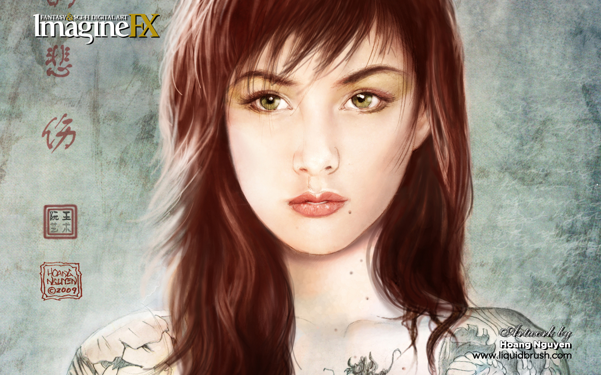 tattoos woman green eyes HD Wallpaper