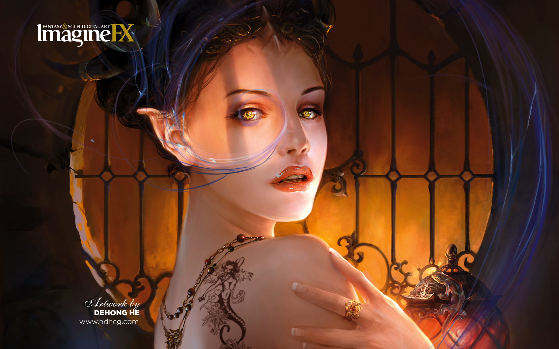 tattoos woman horns Gothic HD Wallpaper