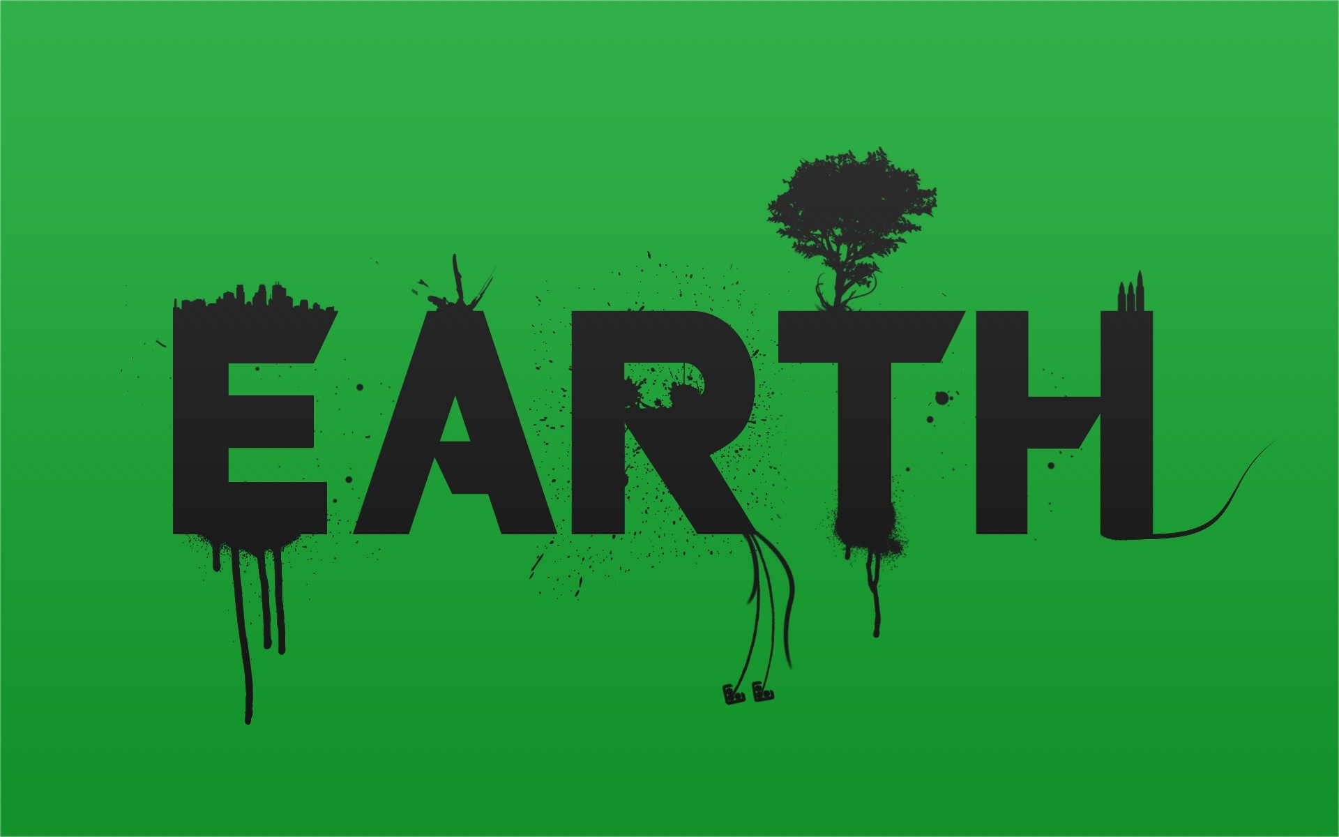 text Earth Typography Simple HD Wallpaper