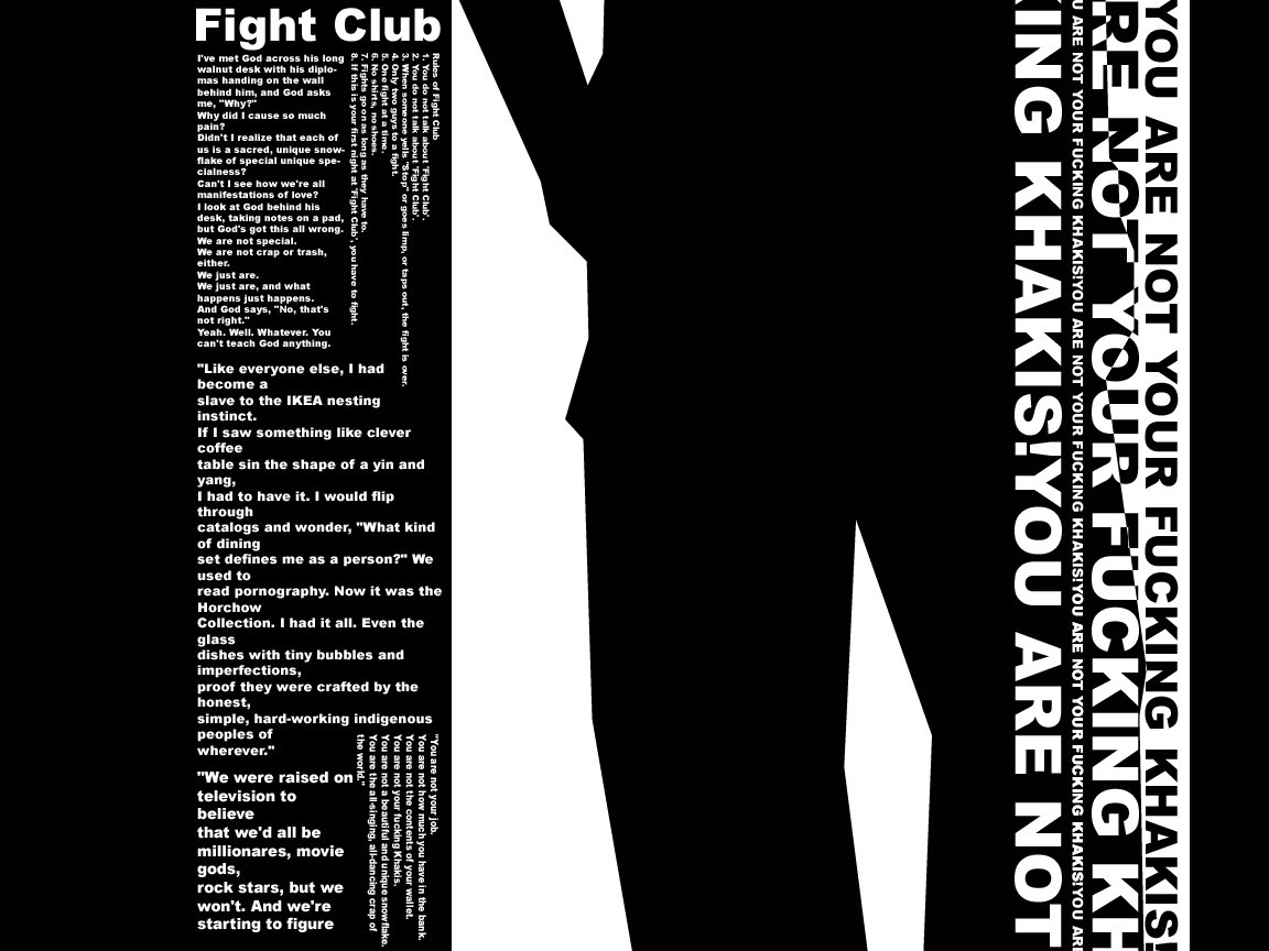 fight club quotes desktop 1152x864 wallpaper 347918 Fight Club Quotes Wallpaper