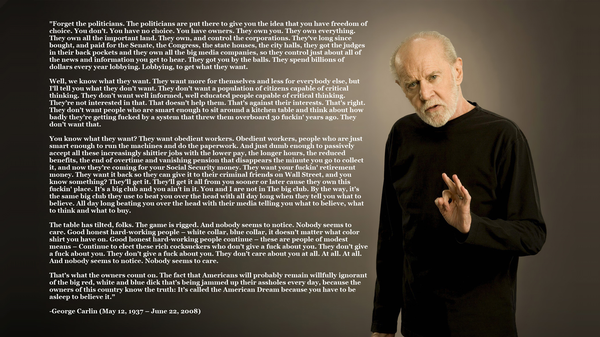 text Quotes george carlin HD Wallpaper