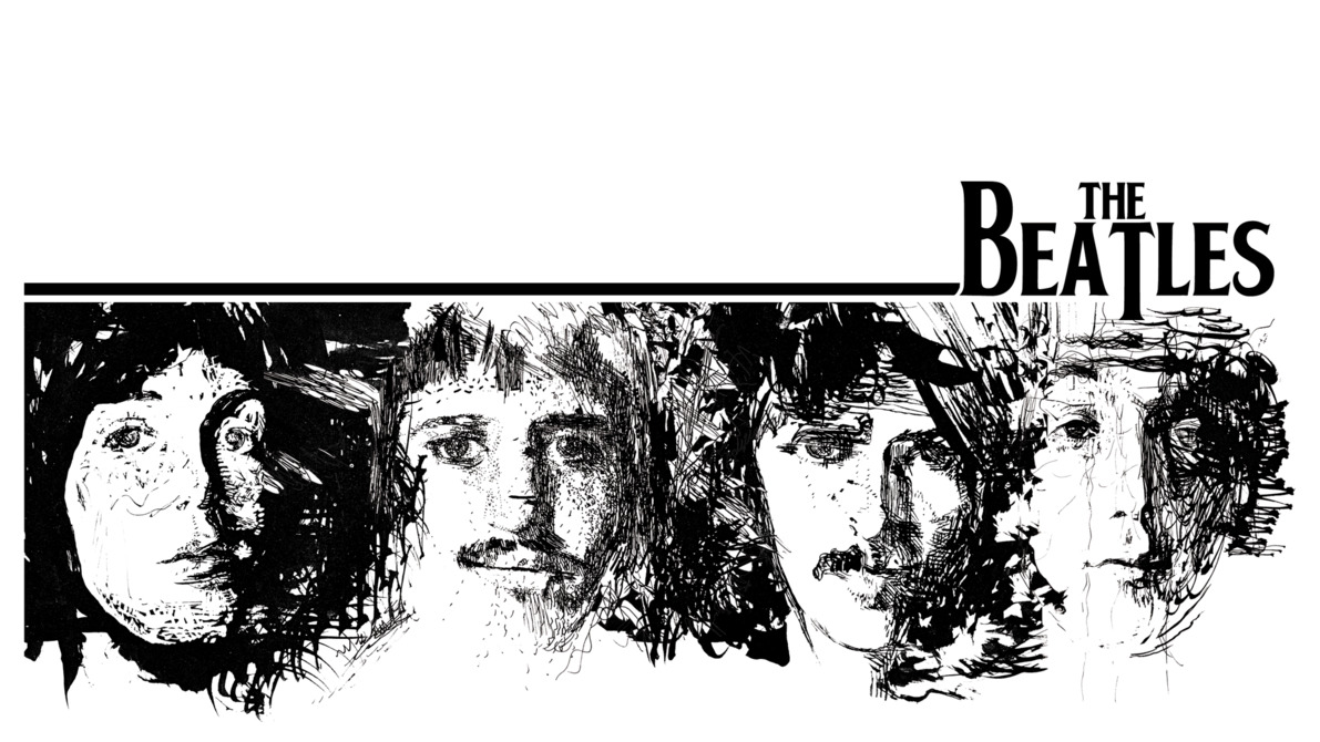 The Beatles artwork white HD Wallpaper