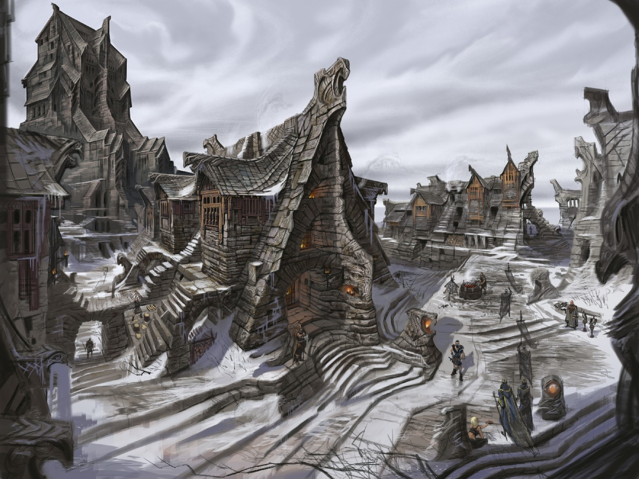 the elder scrolls v skyrim artwork fantasy art HD Wallpaper