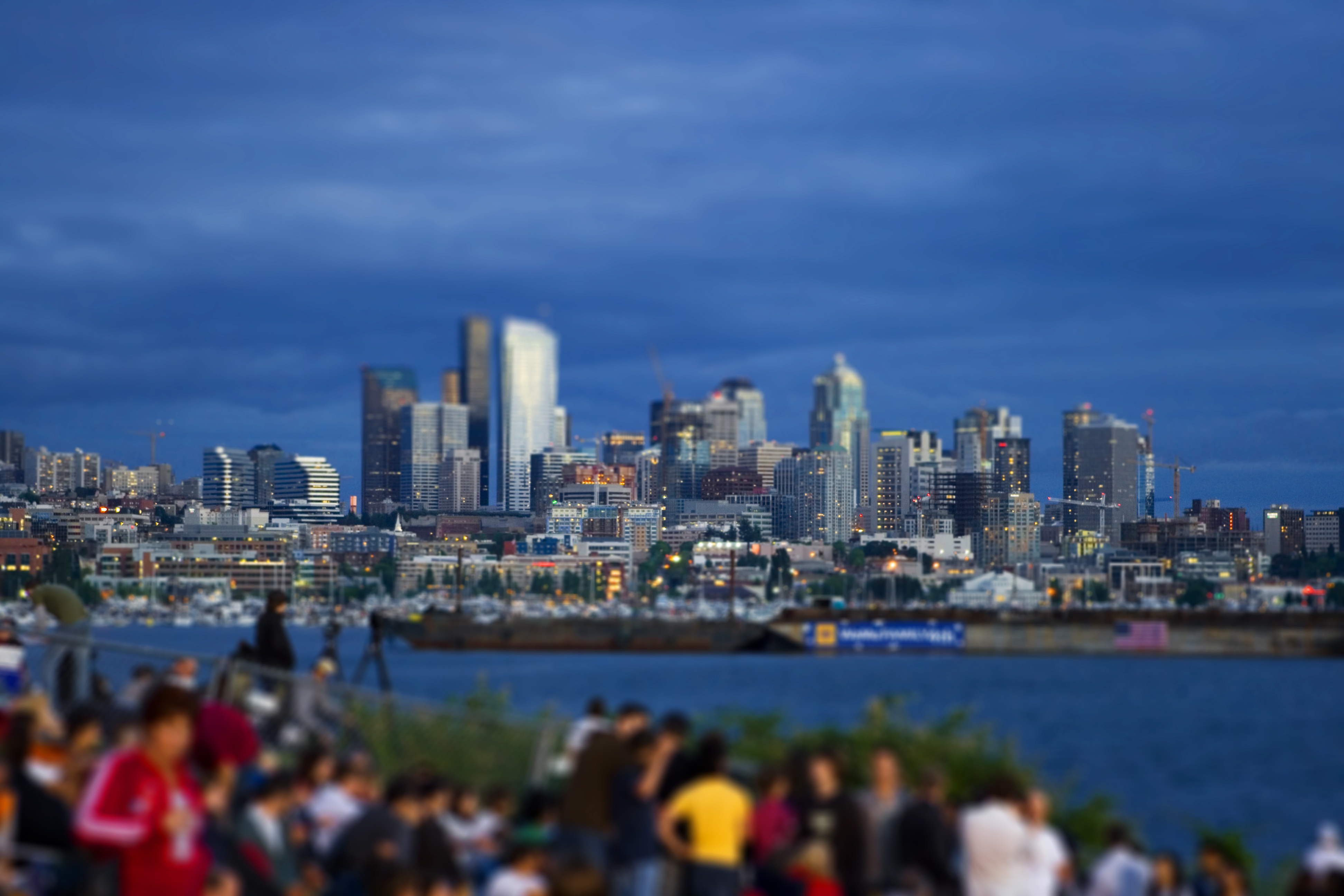 tilt-shift port City skyline