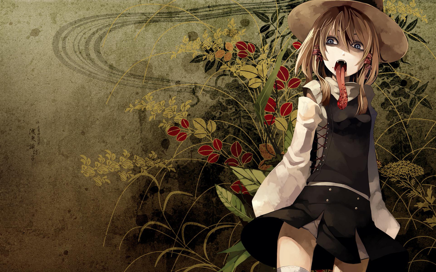 touhou blood tongue goddess HD Wallpaper
