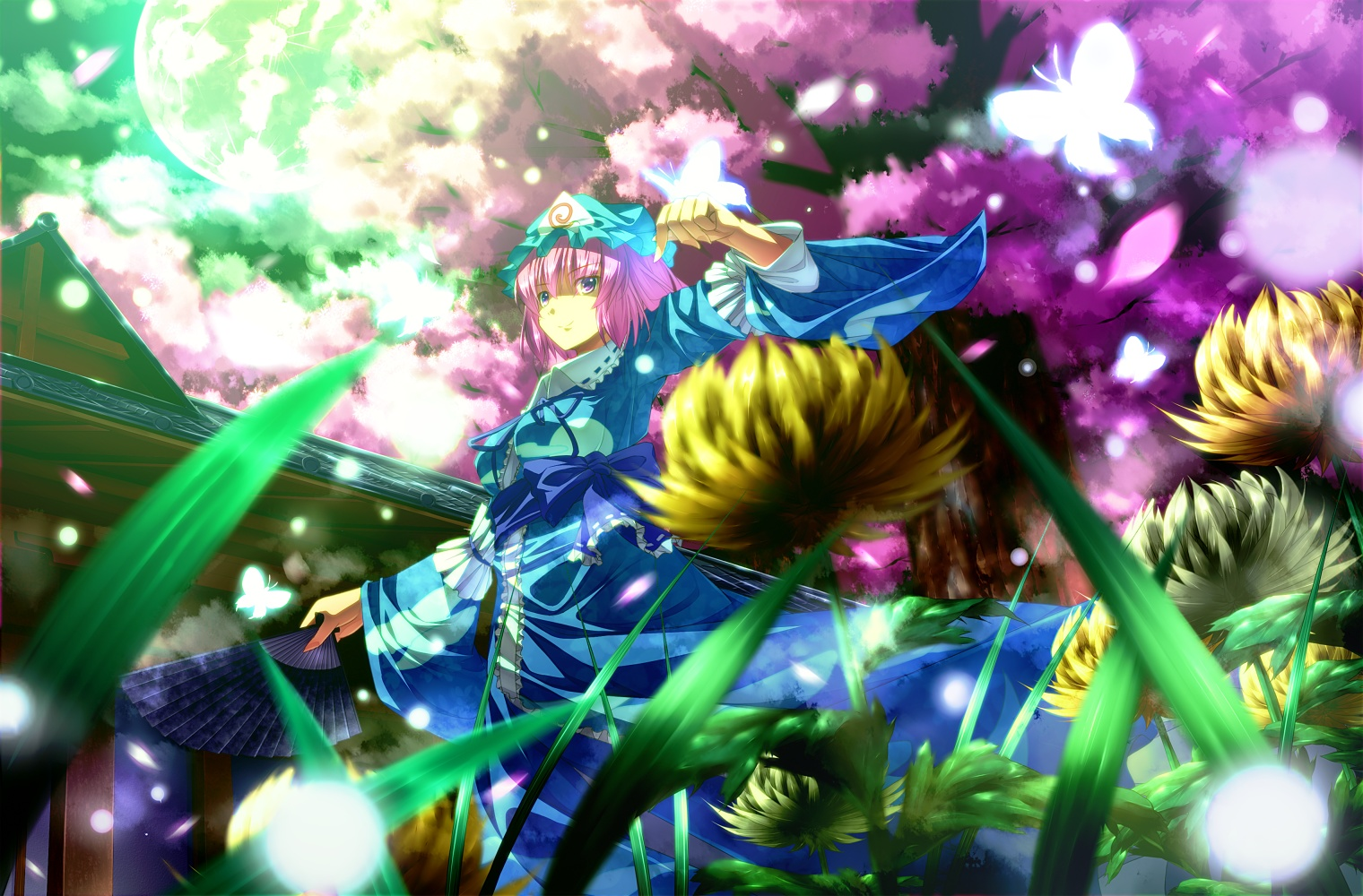 touhou dress Flowers sparkles HD Wallpaper