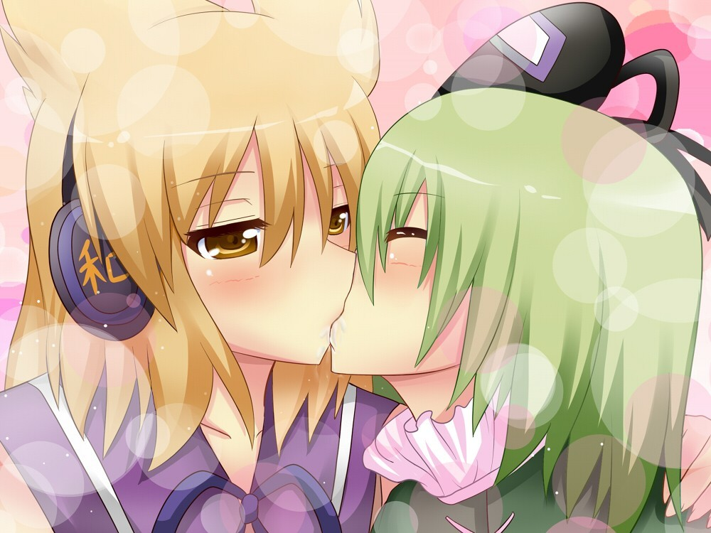 touhou kissing yuri hats