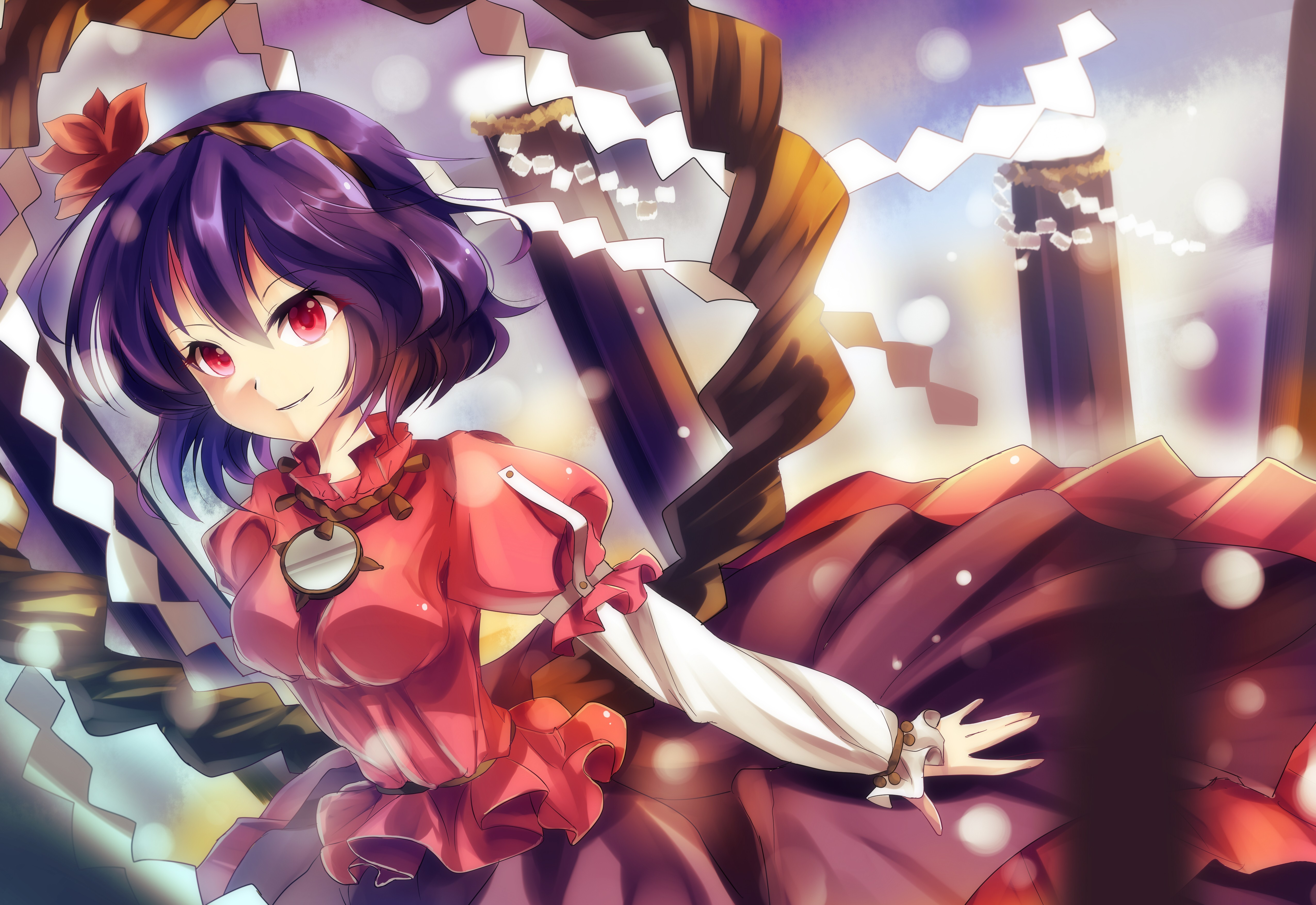 touhou leaves wind skirts HD Wallpaper