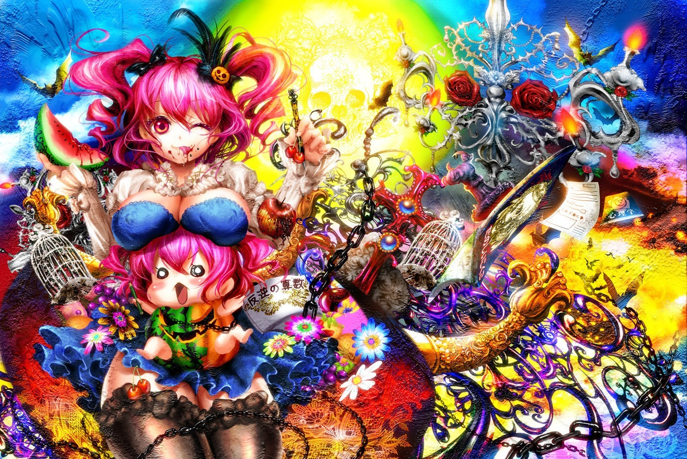 touhou multicolor Flowers cleavage