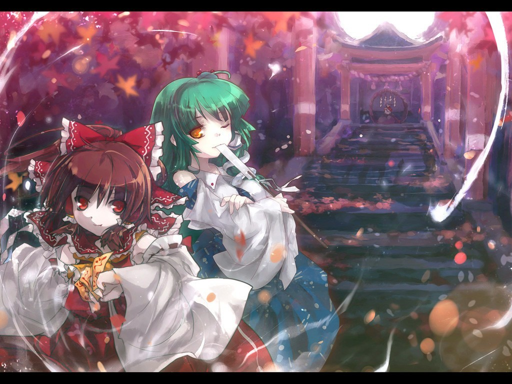 touhou stairways shrine miko HD Wallpaper