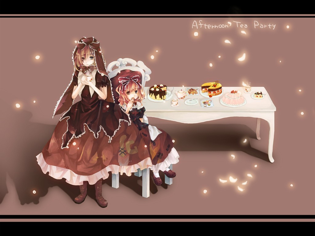 touhou tea party kagiyama HD Wallpaper