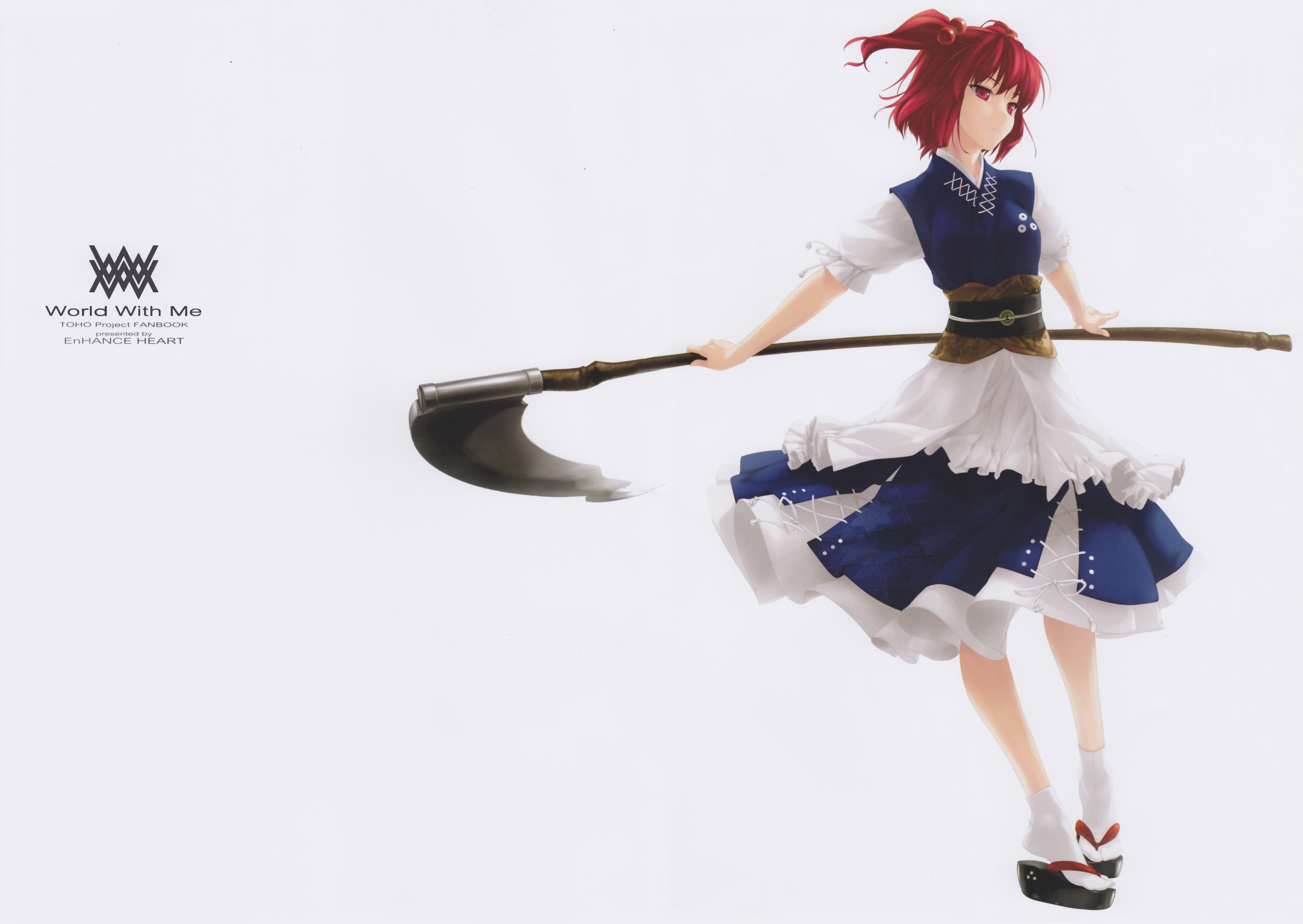 touhou text scythe redheads HD Wallpaper