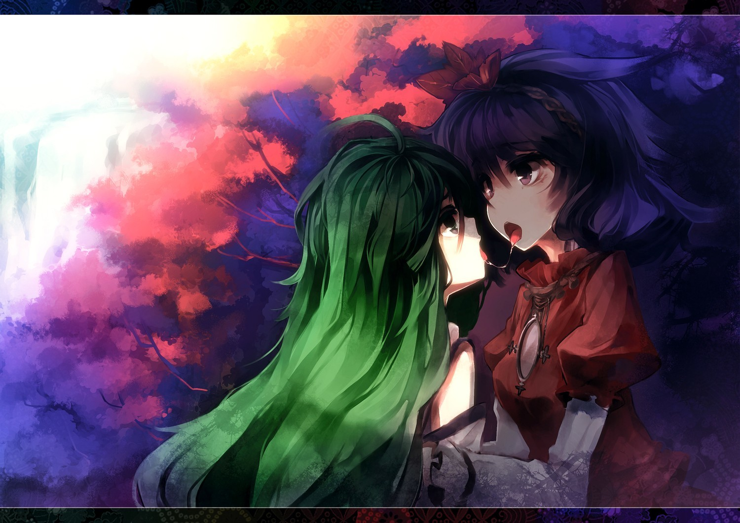 touhou Trees leaves yuri HD Wallpaper