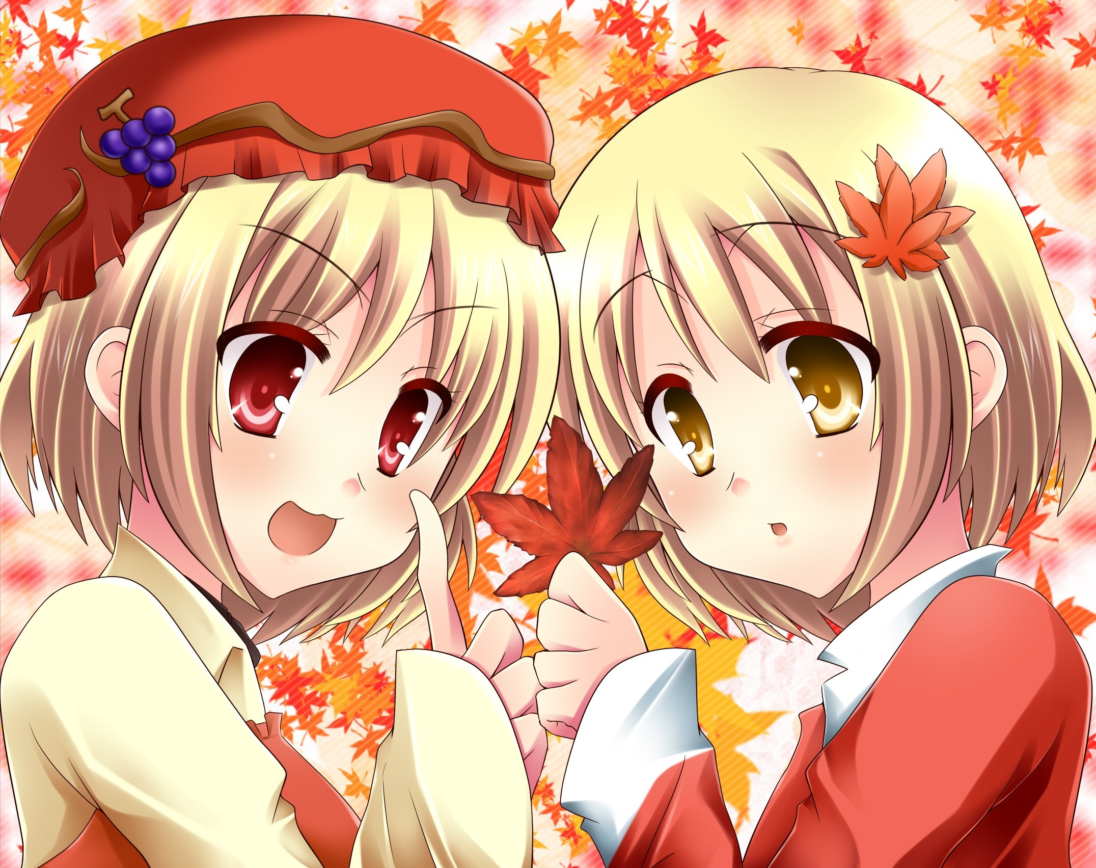 touhou twins hats Aki HD Wallpaper