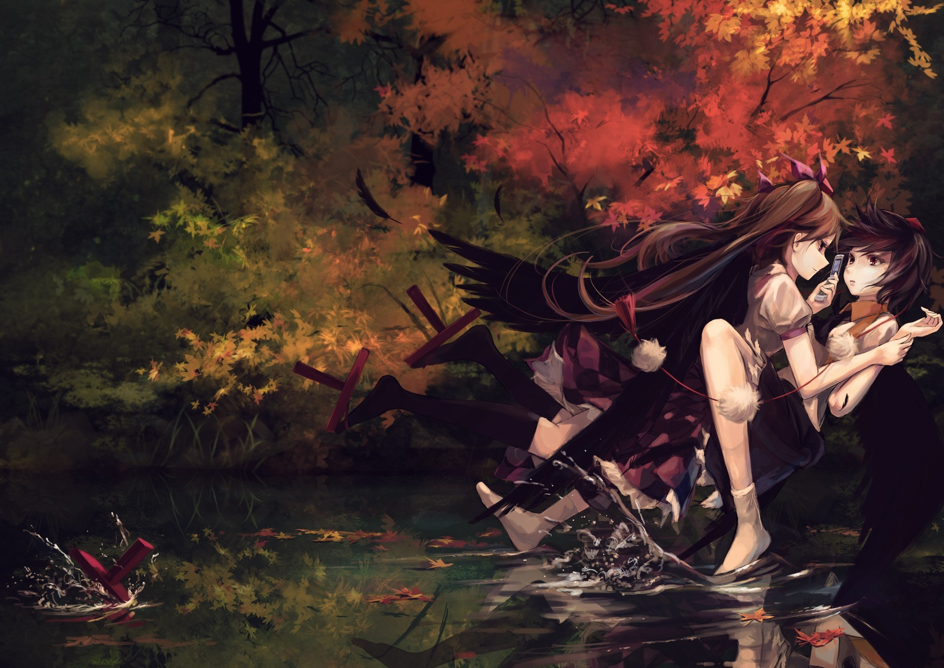 touhou wings autumn leaves HD Wallpaper