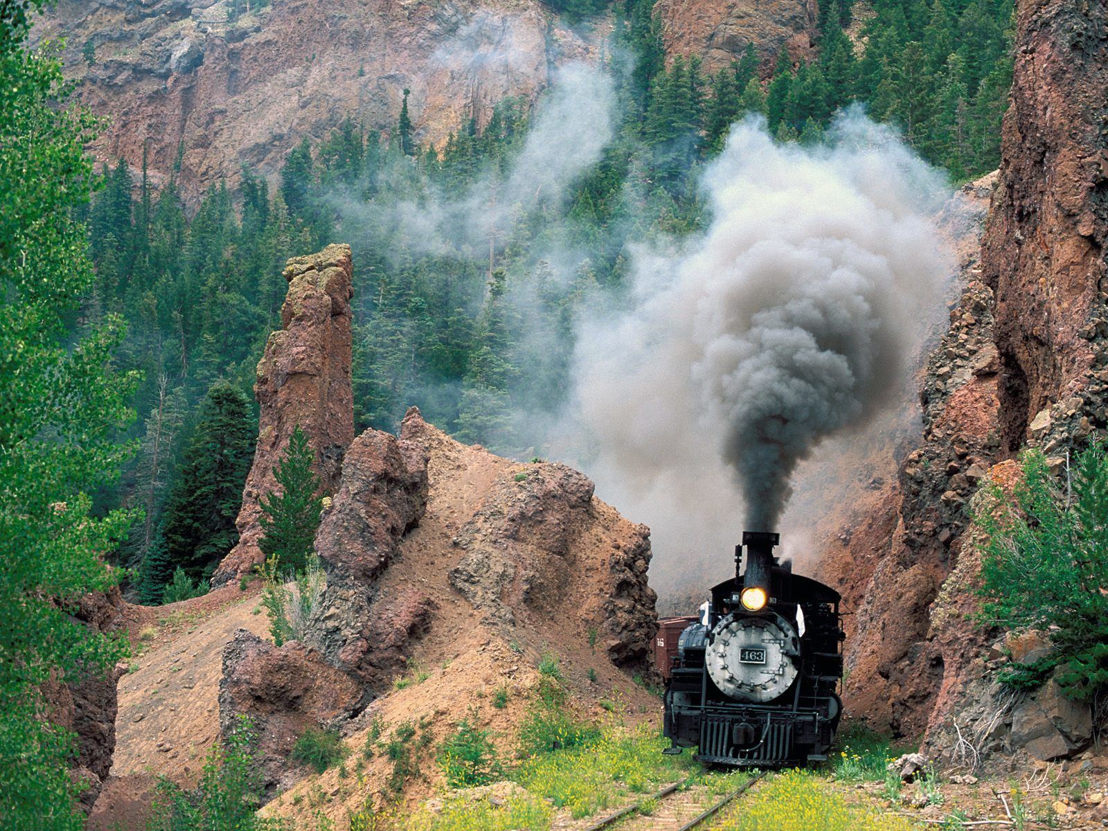train railroad tracks steam HD Wallpaper