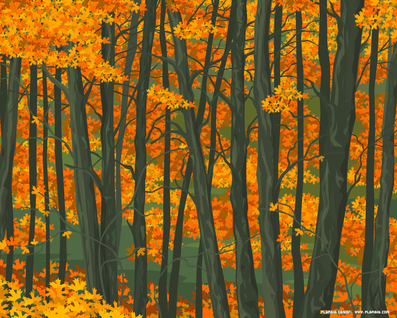 Trees autumn forest artwork HD Wallpaper