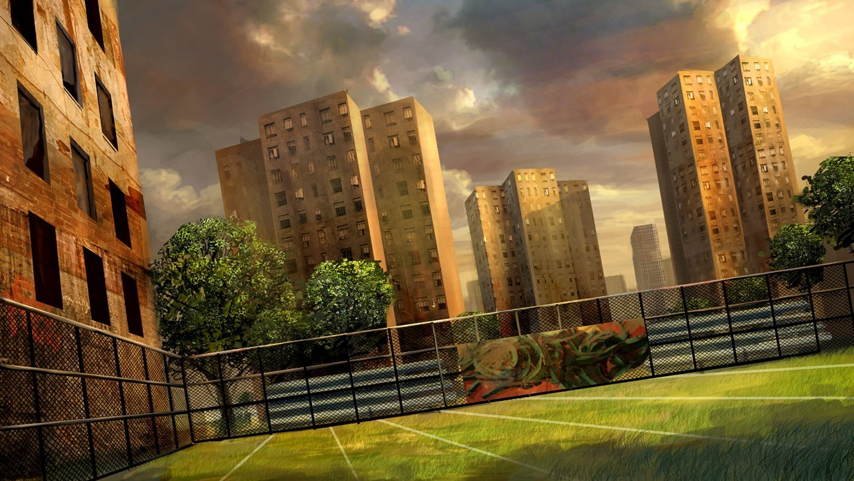 Trees cityscapes fences concept HD Wallpaper