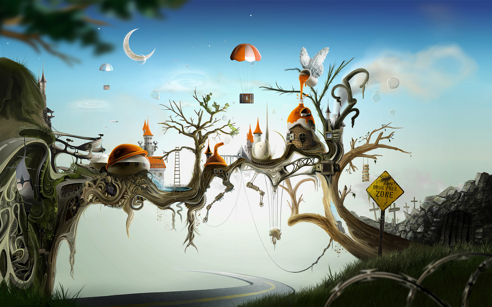 Trees paint bubbles fantasy HD Wallpaper
