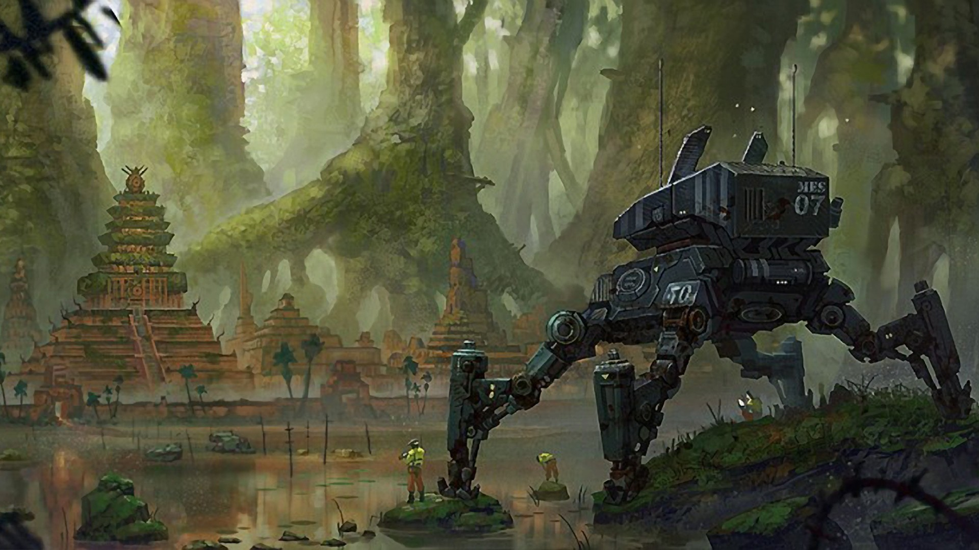 Trees ruins Robots futuristic HD Wallpaper