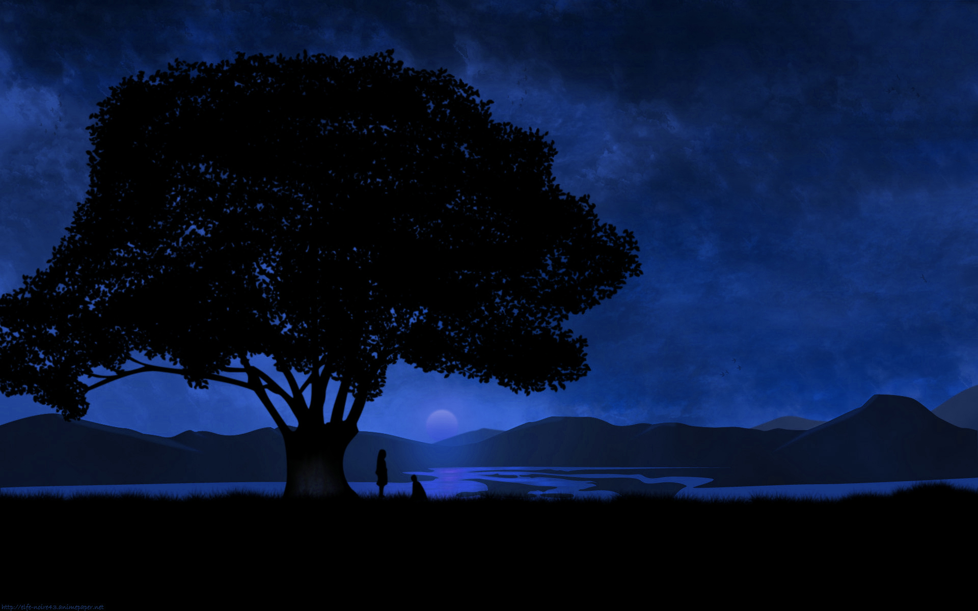 Trees silhouette jigoku shoujo HD Wallpaper