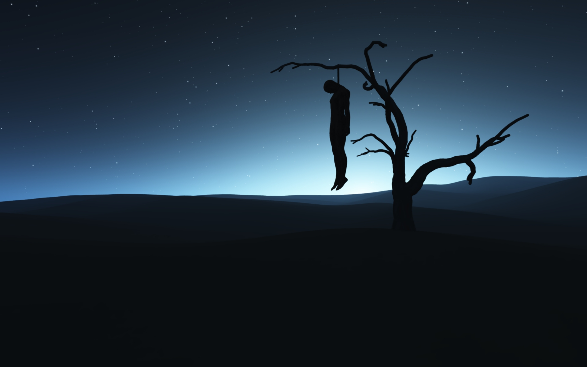 Trees silhouettes suicide hanging HD Wallpaper