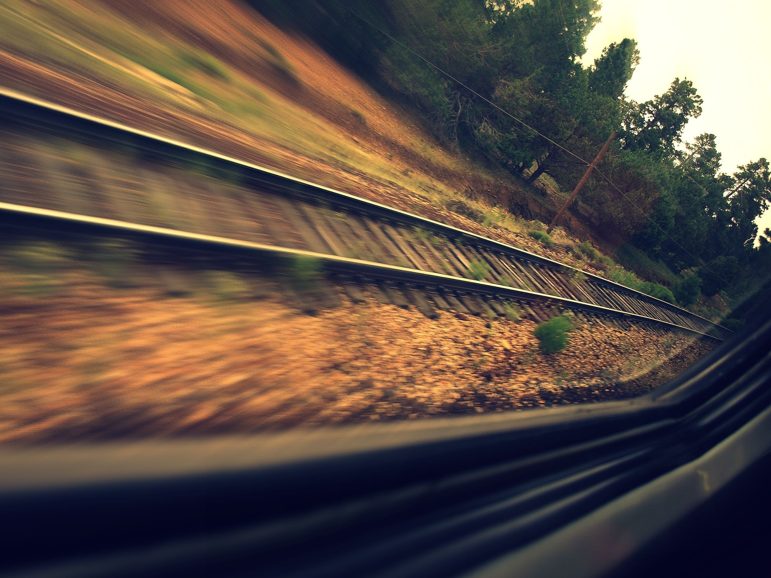 Trees trains railroad tracks HD Wallpaper