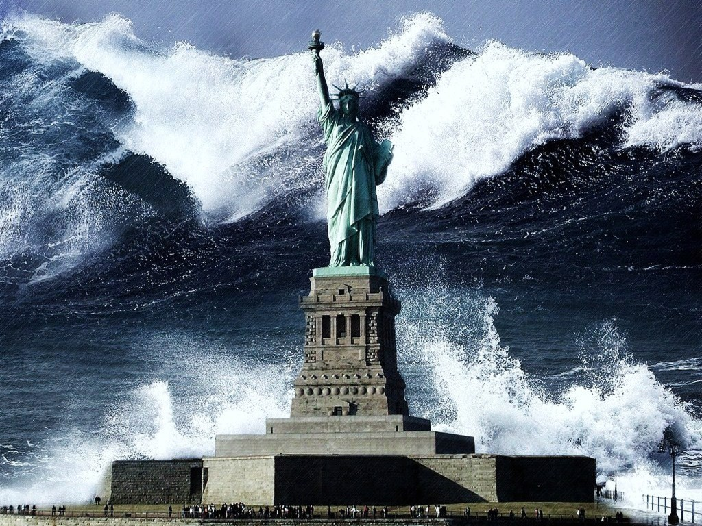 tsunami Statue of Liberty HD Wallpaper