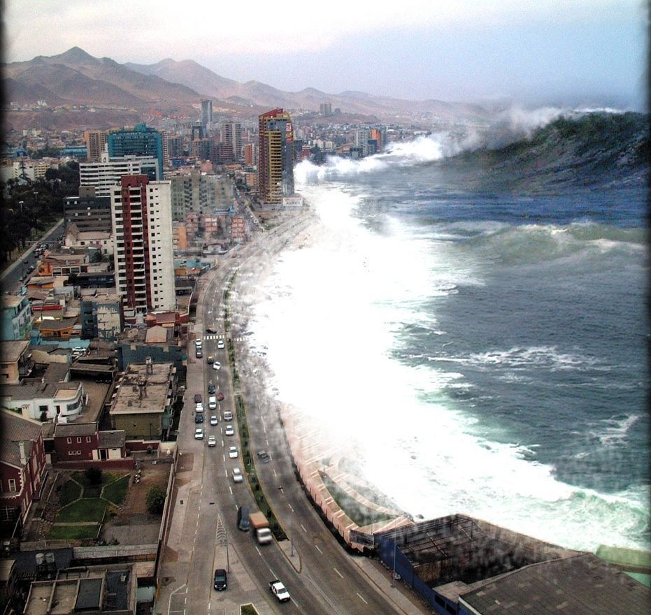 tsunami wave City HD Wallpaper