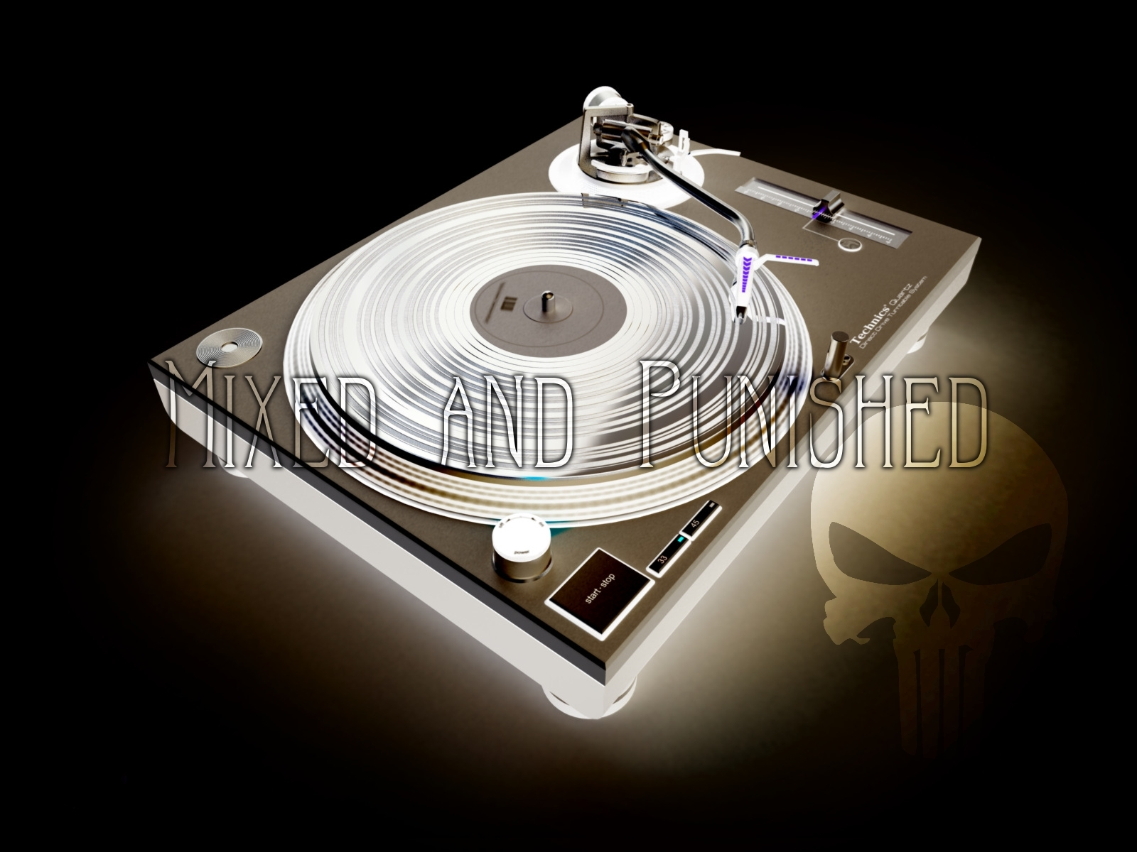 turntables gramophone DJ punisher HD Wallpaper