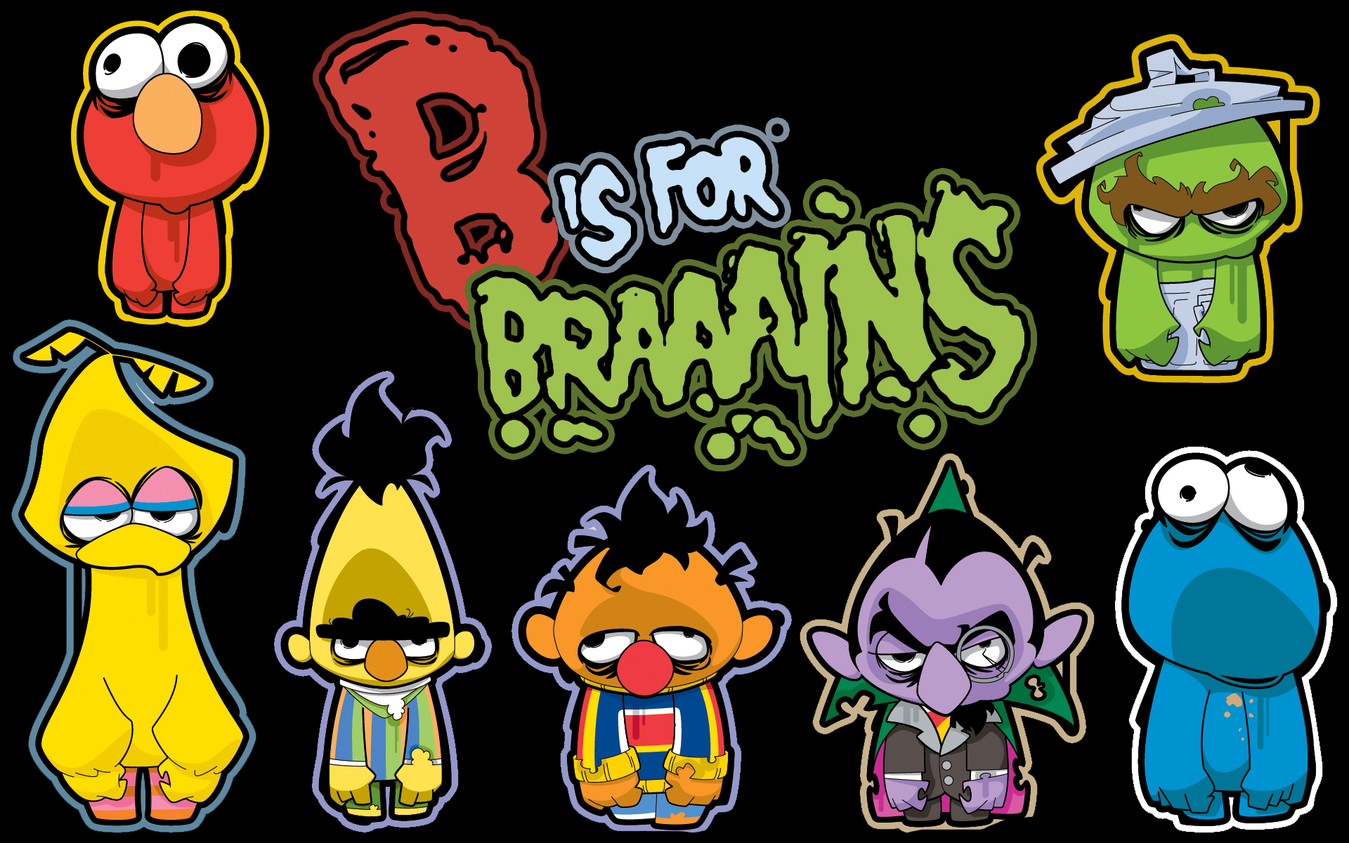 TV cartoons zombies brain HD Wallpaper