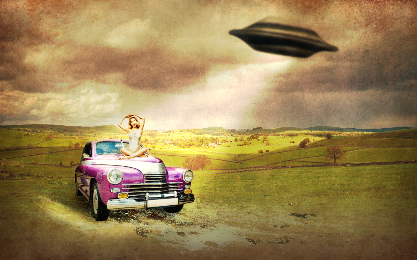 UFO artwork HD Wallpaper