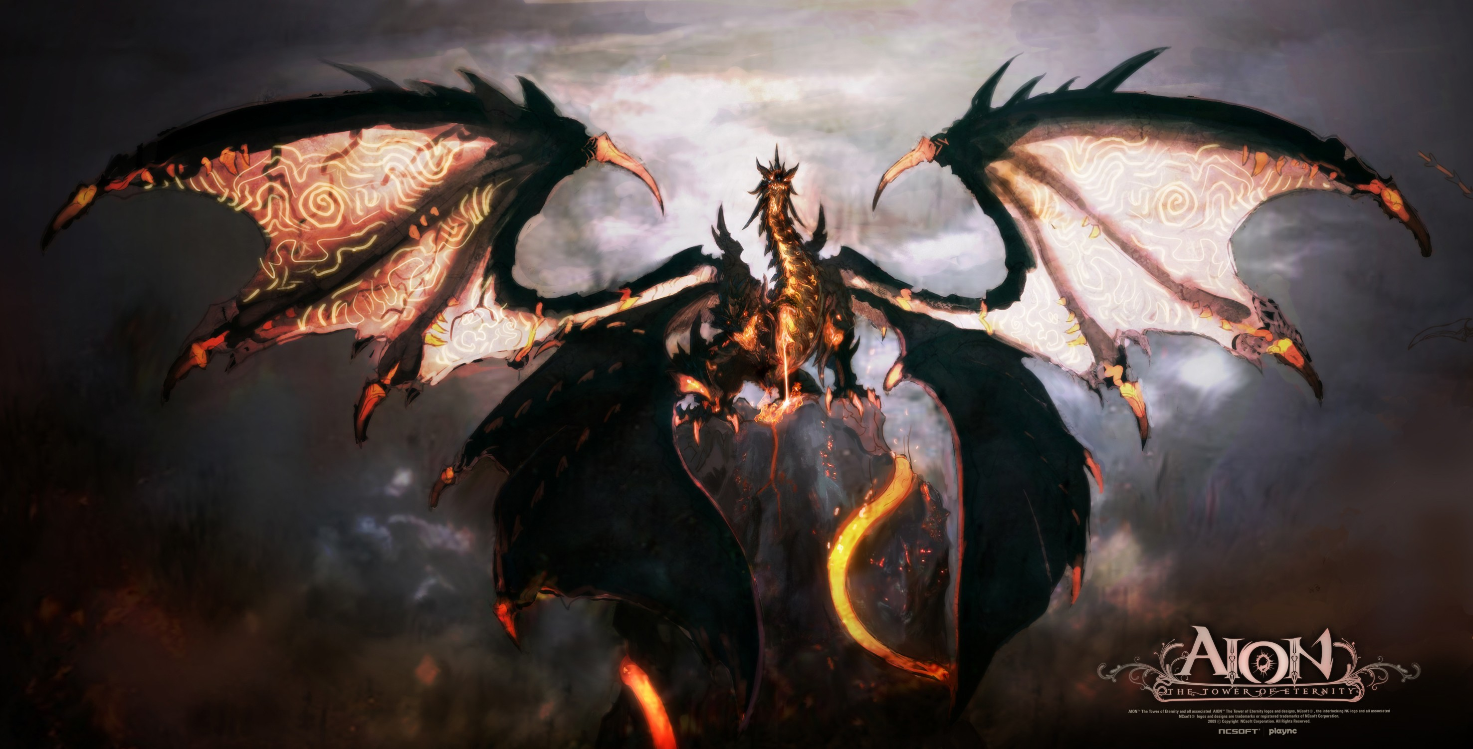 video games Dragons aion HD Wallpaper