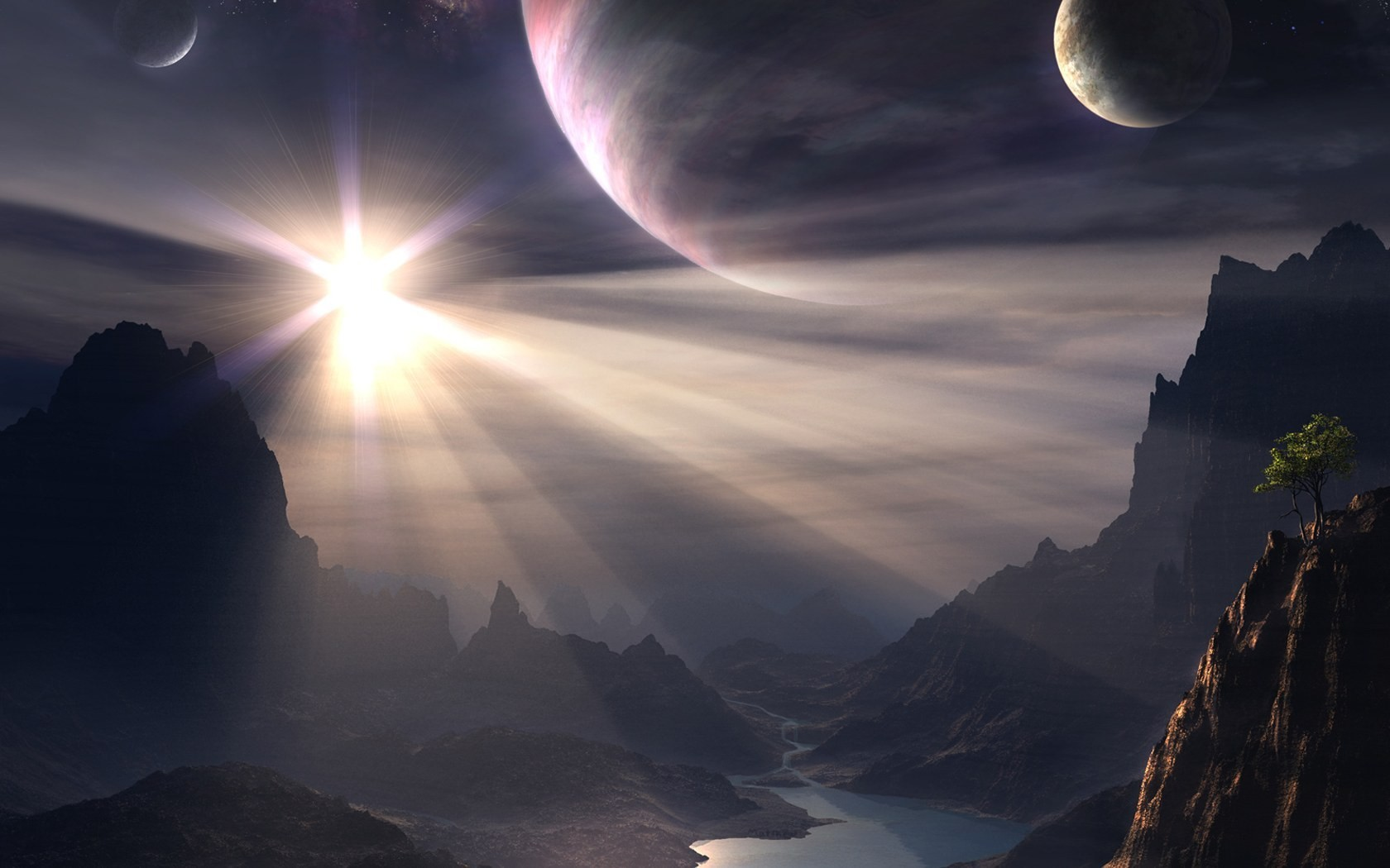 view Mountains sun planets HD Wallpaper