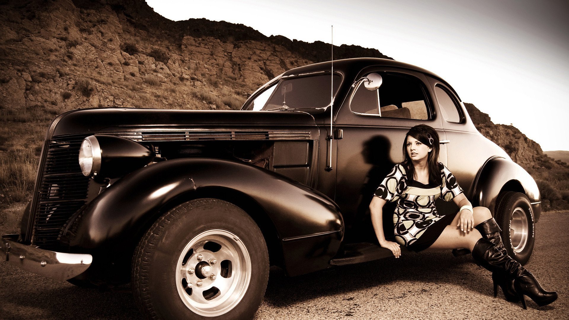 vintage hot rod sepia HD Wallpaper
