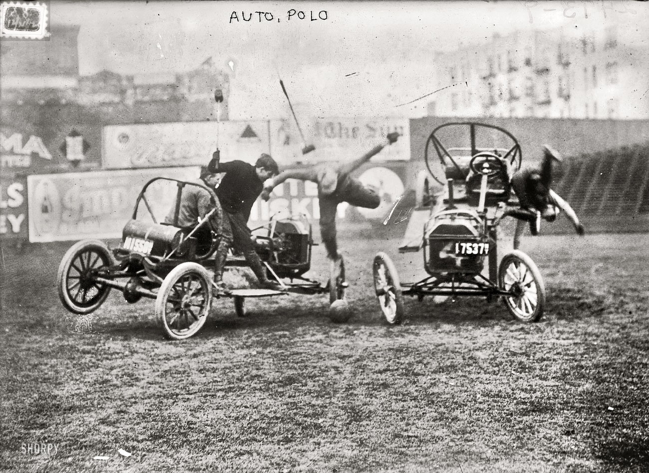 vintage monochrome historic auto polo